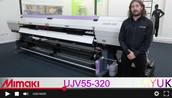 WATCH the Mimaki UJV55-320 3.2m UV LED printer review video (CMYUK Tricks and Tips)
