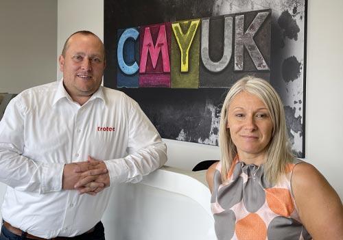 Bryan Jater, Trotec Sales Director UK & Ireland and Sue Hayward, CMYUK Sales Director (Equipment)